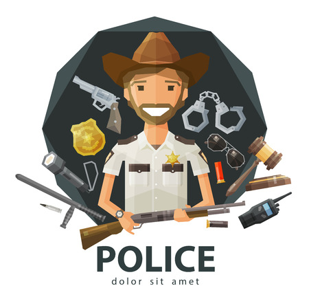 patrolman: funny Ranger with a gun in his hand. vector. flat illustration