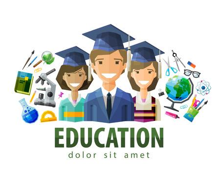 graduacion: estudiantes feliz en mayúsculas graduados. vector. ilustración plana Vectores