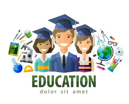 teacher and students: happy students in caps graduates. vector. flat illustration