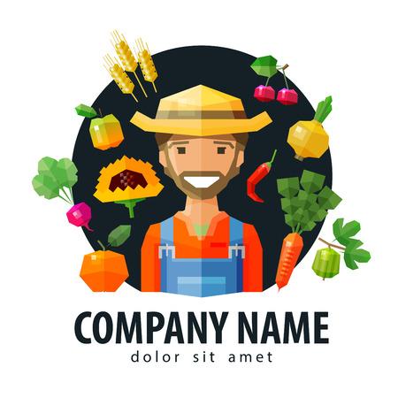 trader: happy trader of fruits and fresh food. vector. flat illustration