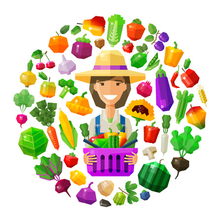 happy farmer: happy girl with a basket of fruit and vegetables. vector. flat illustration
