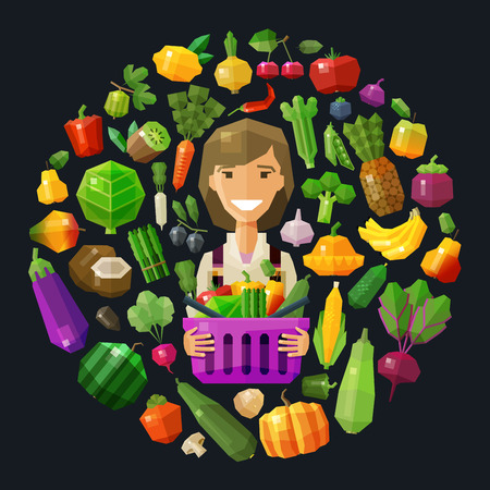 watermelon woman: happy young woman with basket of fruits and vegetables. vector. flat illustration