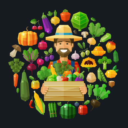 happy farmer with a wooden crate of fruit and vegetables. vector. flat illustration Vettoriali