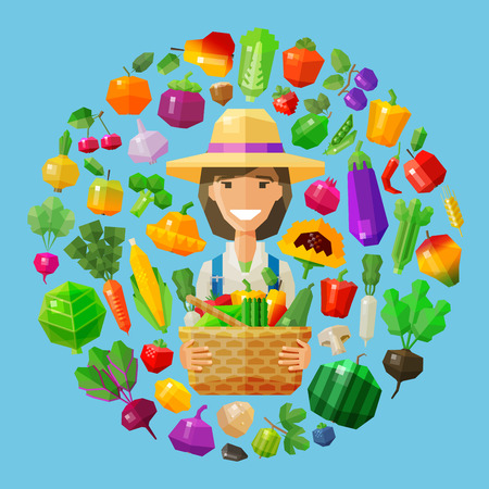 caldera: happy woman with a basket of fruit and vegetables in his hands. vector. flat illustration