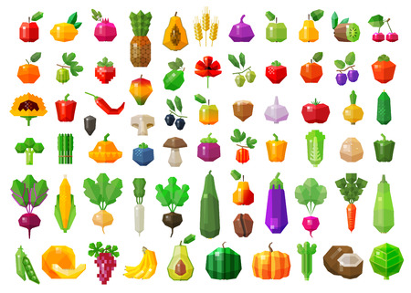fruits and vegetables set of colored icons. vector. flat illustration