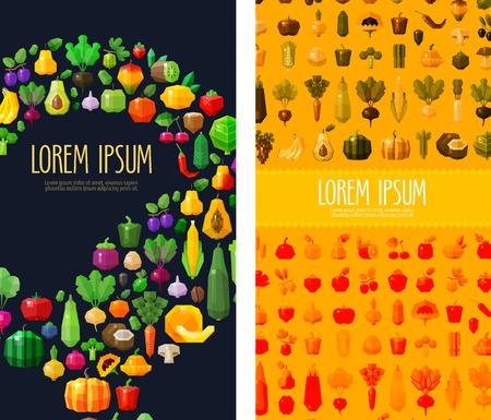 essen: Obst und Gemüse Sammlung von farbigen Symbolen. vector. Flach illustration