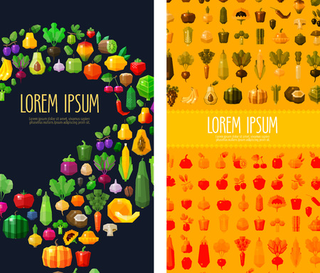 range fruit: fruits and vegetables collection of colored icons. vector. flat illustration Illustration