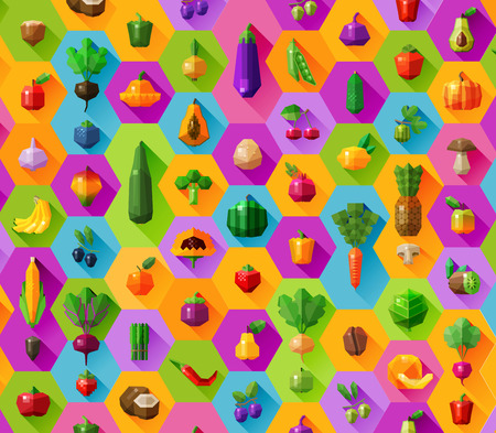 context: collection of color icons on the theme of fruit and vegetables. vector. flat illustration Illustration
