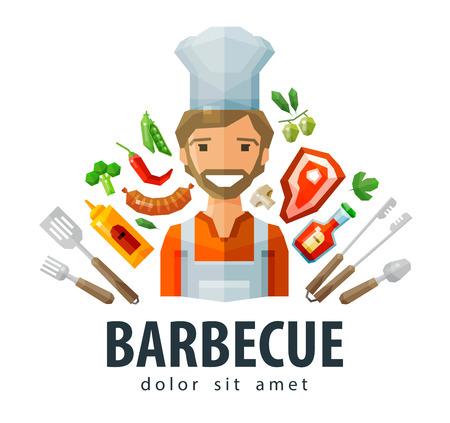 bbq: happy chef making BBQ. vector. flat illustration