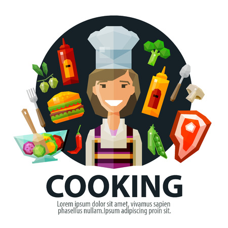 kitchen poster: happy young woman in hat chef and fresh food. vector. flat illustration