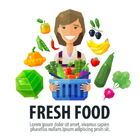 zucchini: happy young woman with a basket in his hands. fresh fruits and vegetables. vector. flat illustration