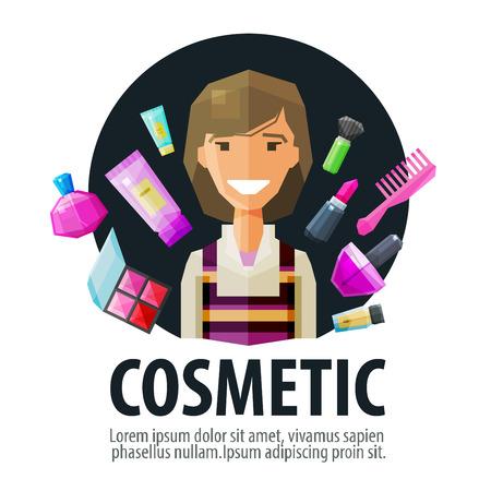 visagiste: young beautiful woman in beauty salon. vector. flat illustration