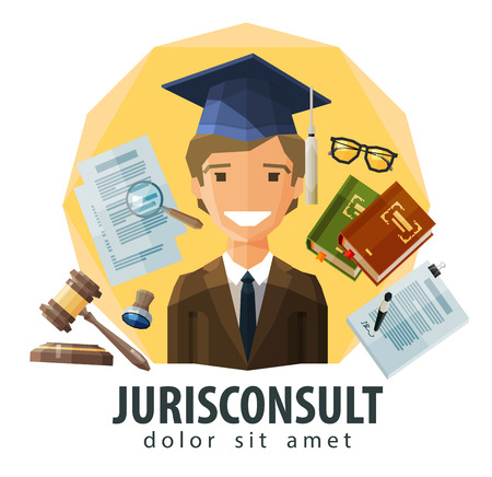 legal icon: happy lawyer in hat graduate. vector. flat illustration