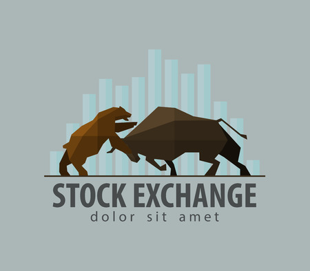money exchange: stock exchange symbol - the bull and the bear. vector. flat illustration