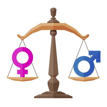 Symbol für Männer und Frauen über Gewichte. vector. Flach illustration