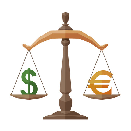monies: symbol of the dollar and the euro on the scales. vector. flat illustration