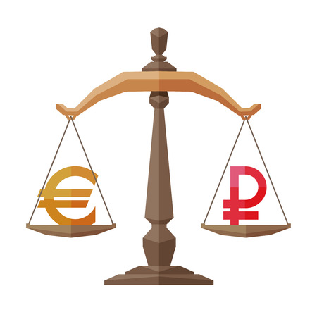 equilibrium: symbol of the euro and ruble on the scales. vector. flat illustration