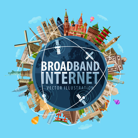 high-speed internet en de wereld. vector. platte illustratie