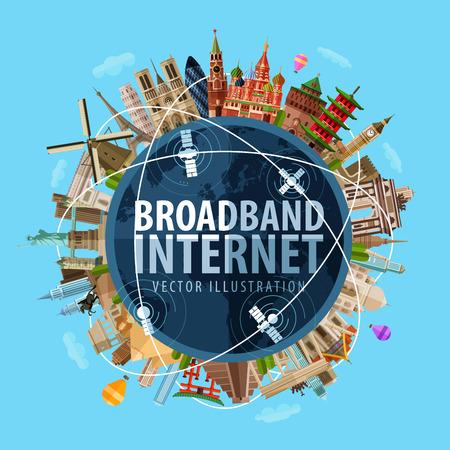 world: Internet haut-débit et le monde. vecteur. illustration plat