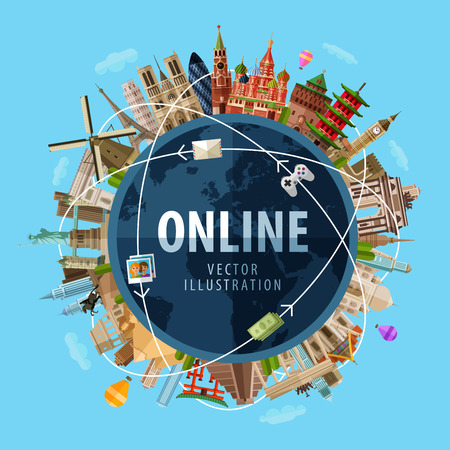 internet logo: high-speed Internet around the world. vector. flat illustration Illustration