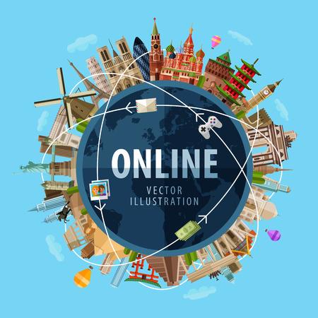 komunikace: vysokorychlostní připojení k internetu po celém světě. vektor. plochá ilustrace Ilustrace