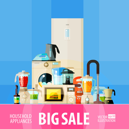 juice extractor: set of home appliances for sale. vector. flat illustration Illustration