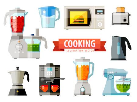aparatos de cocina para cocinar. vector. ilustración plana