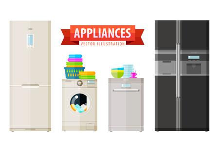 nevera: aparatos para el hogar. vector. ilustraci�n plana Vectores