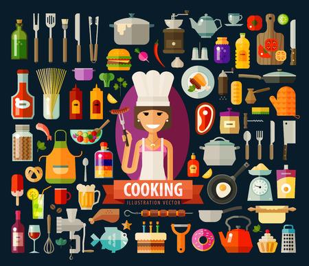cocinero: cocinero alegre chica y utensilios de cocina, comida. vector. ilustraci�n plana
