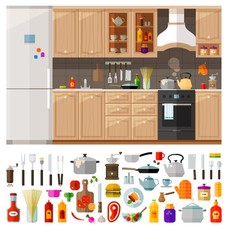 kitchen furniture: classic kitchen furniture and cooking utensils, food. vector. flat illustration