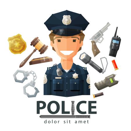 patrolman: happy policeman in uniform. vector. flat illustration