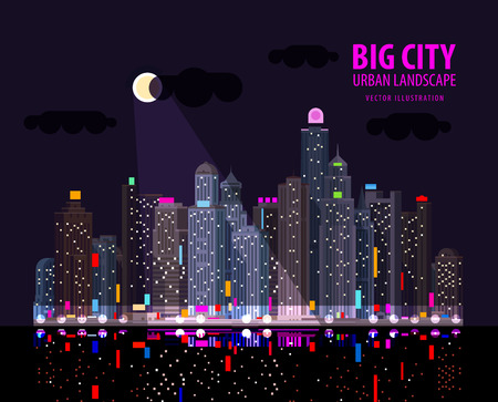 reflectivity: night city by the sea. vector. flat illustration Illustration