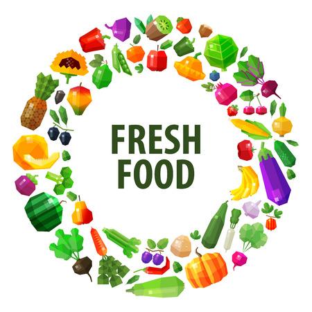 round frame from vegetables and fruits. vector. flat illustration Illustration