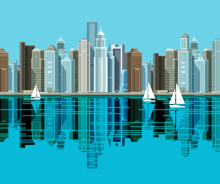 populous: skyscrapers by the water. vector. flat illustration