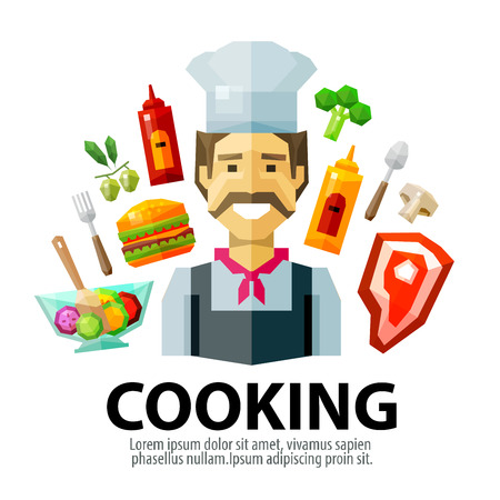 vegetable cook: happy chef with a mustache. vector. flat illustration Illustration