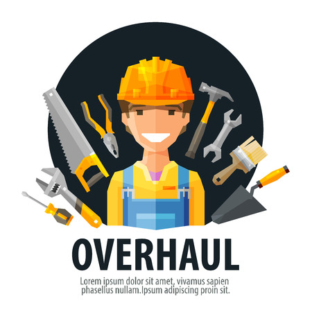 construction companies: happy Builder and building tools. vector. flat illustration Illustration