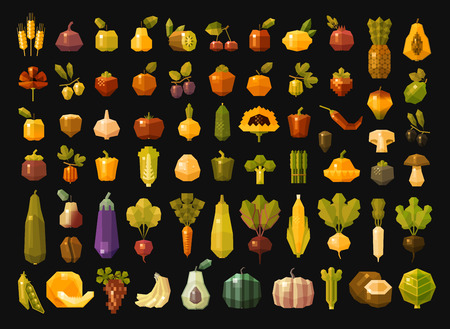grapes and mushrooms: a large set of color icons on the theme of vegetables and fruits. vector. flat illustration