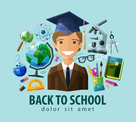 teacher and students: happy student in the graduate cap. vector. flat illustration