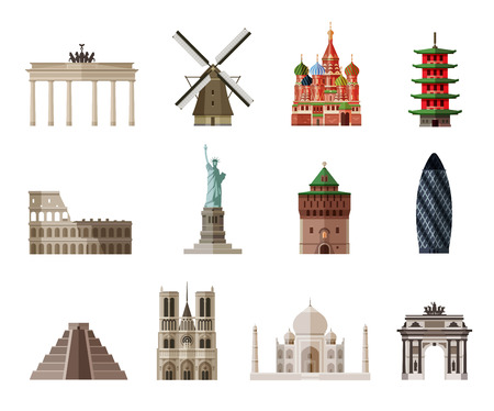 holland: icon collection the sights of the world. vector. flat illustration Illustration
