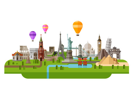 around: icon set the sights of the world. vector. flat illustration