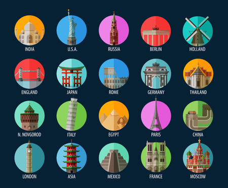 世界の名所が色付きのアイコンのコレクションです。ベクトル。フラットの図
