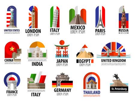 путешествие: Коллекция цветных иконок достопримечательностей мира. вектор. плоским иллюстрация Иллюстрация
