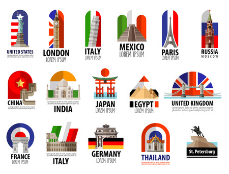 usa flag: collection of colored icons attractions of the world. vector. flat illustration Illustration