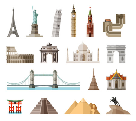 china wall: set of colored icons attractions of the world. vector. flat illustration