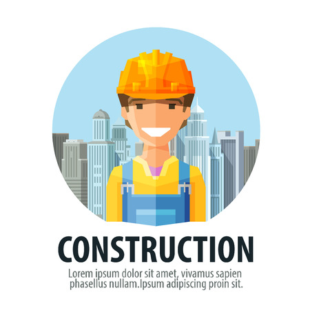 labouring: happy Builder in a helmet on a background of a modern city. vector. flat illustration Illustration