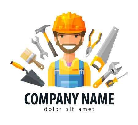 albañil: Constructor feliz en un casco sobre un fondo de herramientas de construcción. vector. ilustración plana Vectores