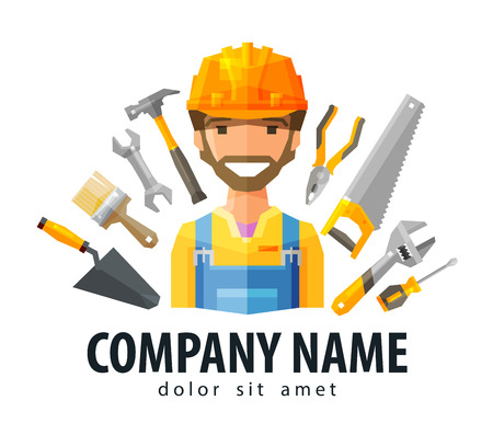 builder symbol: happy Builder in a helmet on a background of building tools. vector. flat illustration