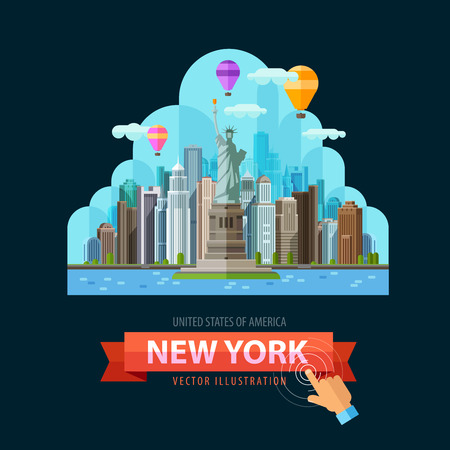 usa: the statue of liberty on the background of the city. vector. flat illustration