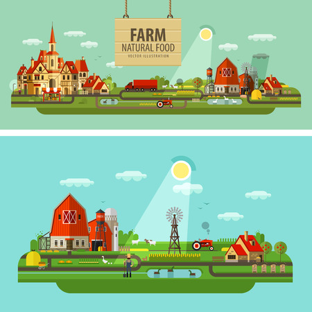 ranch house: farm outbuildings and orchard. vector. flat illustration Illustration