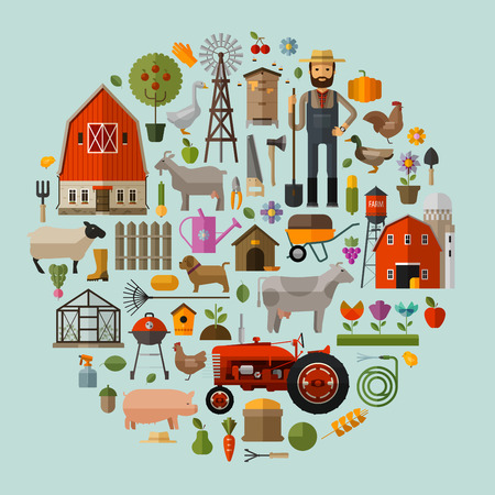 ranches: collection of icons on the theme of farm buildings and greenhouses. vector. flat illustration